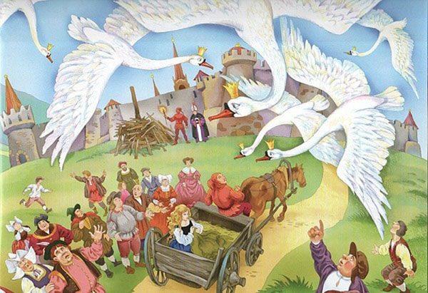 Картинка к сказке Дикие лебеди