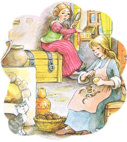 Картинка к сказке Дочь и падчерица