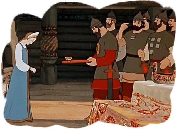 Картинка к сказке о мертвой царевне и семи богатырях