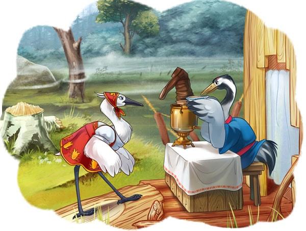 Картинка к сказке Журавль и цапля