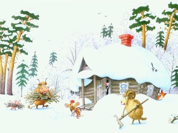 Картинка к сказке Зимовье зверей