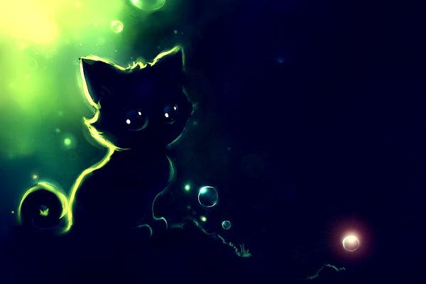 Картинка к сказке Котёнок и стёклышко