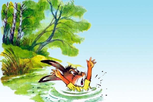 Картинка к сказке А зайцы плавают