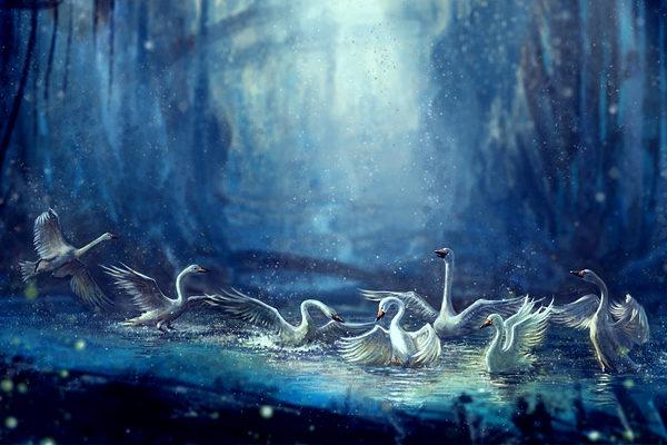 Картинка к сказке Шесть лебедей