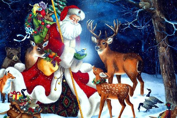 Картинка к сказке Заяц, косач, медведь и дед мороз
