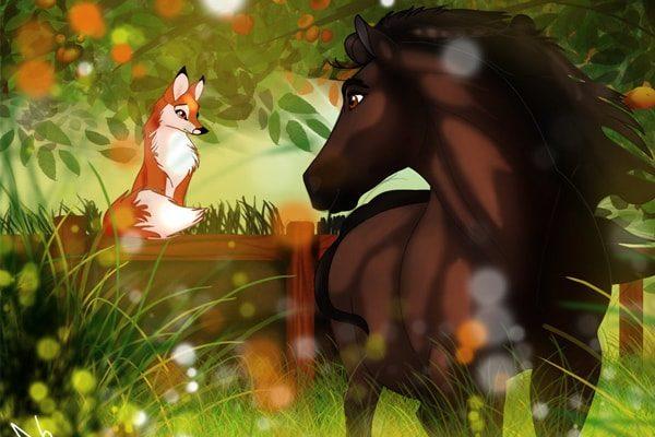 Картинка к сказке Лис и лошадь