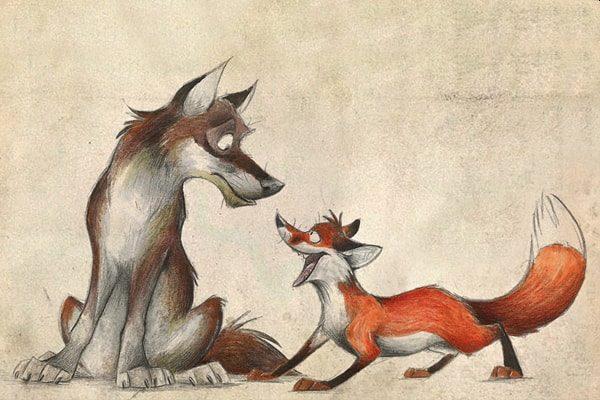 Картинка к сказке Лиса и кума
