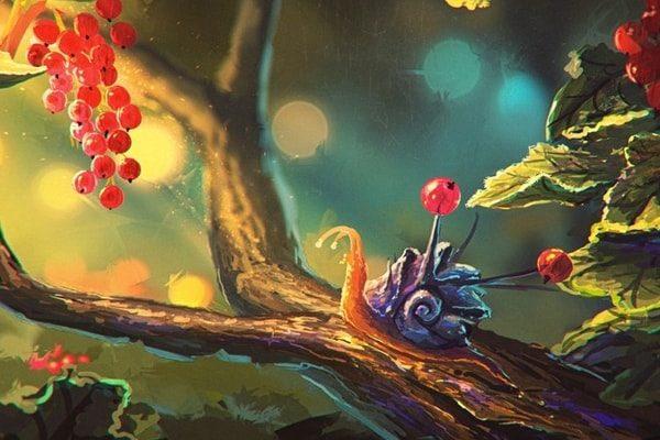 Картинка к сказке Улитка и розы