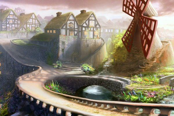 Картинка к сказке Бедный работник с мельницы и кошечка
