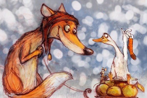 Картинка к сказке Лис и гуси